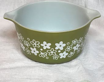Vintage 1970s Pyrex Spring Blossom #473 Mixing Bowl CRAZY DAISY 1 Qt.