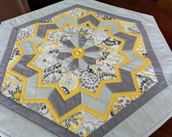 Gray and Yellow Hexagon Table Topper - Quilted Table Topper - Bee Table Decor -Flower Table Runner - Dining Table Decor - Quilted Tablecloth