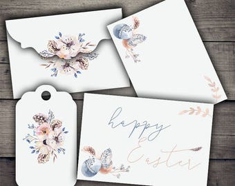 Easter Watercolor Envelopes, Tags & Cards - Digital Collage Sheet Printables