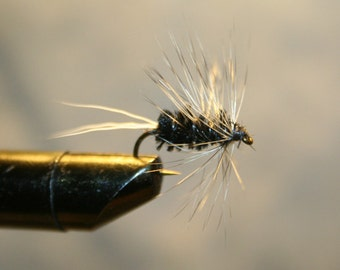 Fly Fishing Flies - Hand-tied Flies - Flies for Fishing - Black Chenille - White Deer Hair Tail - Grizzly Hackle - Made in Michigan - Gift