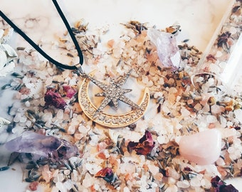 Stella moon and star Necklace, Moon and star necklace, Star and Moon velvet necklace, Star and moon necklace, occult star and Moon necklace