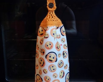Double Sided Hand Crocheted Dish Hanging Towel Orange Emoji Faces