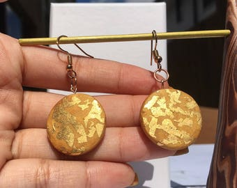 Bronze Circle Polymer Clay Drop Earrings with Gold Detail