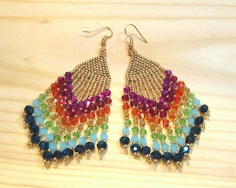 BEADED CHANDELIER EARRINGS...Czech Seed Beads, Glass Beads, Bohemian, Boho, Ethnic, Tribal, Rainbow & Gold Colors, item #45