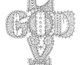 Instant Download Love God Cross Christian Coloring Page Adult Digi Stamp Digital