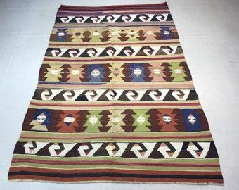 Konya Kavak Kilim // Turkish Kilim 8.4'x5.1' ft or 256x157cm, konya kilim, area rug, Turkish rug, oriental kilim, colorful kilim