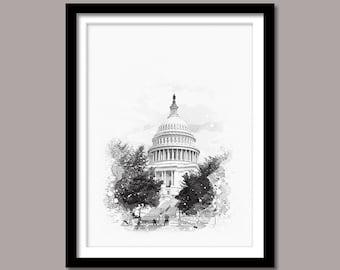 United States Capitol print, United States Capitol Digital print, Landmark Printable Art, US Capitol Digital Download, Black and White