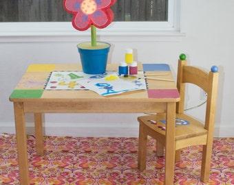 "Splat Mat/Tablecloth ""Sunset Pink Squirrels"" - Laminated Cotton BPA  & PVC Free - Choose Your Size below!"
