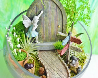 "Fairy Garden Kit with Fairy Door and Sign ~ 8"" Glass Bowl Air Plant Terrarium Kit ~ Door with Blue Dress Fairy ~ Miniature Garden Kit ~ Gift"