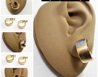 Napier Brushed Hoop Clip On Earrings Gold Tone Vintage Adjustable Comfort Screwback Round Wide Band Open Ring Dangles