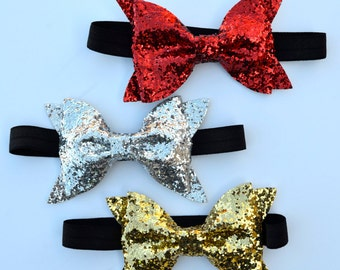 Christmas glitter bows, headband or clip, Red glitter bow, silver glitter bow, gold glitter bow, Christmas bows,