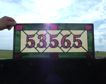Hand Made Stained Glass Home Address, Custom Mailbox Numbers, Entry House Number, Stained Glass Window Panel, Number Art