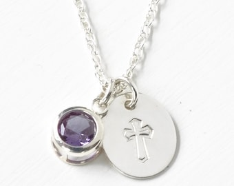 Small Sterling Silver Cross Charm Necklace with June Birthstone Imitation Alexandrite - Confirmation Gifts for Teen Girls