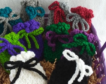 Colorful hand-crocheted pouches/mini goodie bags