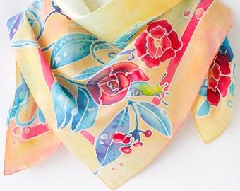 Fairytale gift Orange Silk Scarf Handpainted Gift for Wife Square Silk Scarf Hand Painted Silk Shawl Wedding gift Yellow Scarf