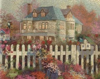 Vintage Wallpaper Border, Vintage Victorian White House, Flowers,Birdhouses, picket fence, Farmhouse wall decor, kitchen wall decor, country