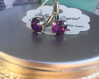 Antique silver 8mm swarovski crystal earrings