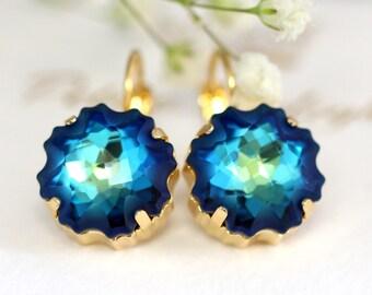 Blue Drop Earrings, Bridal Blue Navy Earrings, Swarovski Bermuda Earrings, Bridesmaids Capri Blue Earrings, Bridal Something Blue,Blue Studs