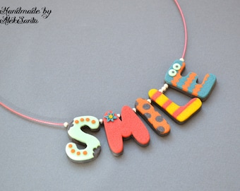 Inspirational Smile necklace Bright necklace Summer necklace Funny necklace Cute necklace Cute jewelry Multicolor necklace Letter necklace