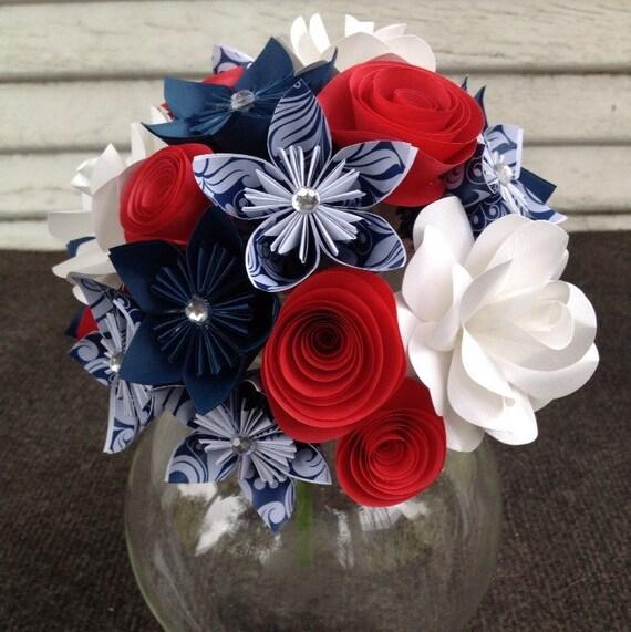 Paper flower bouquet red white blue patriotic anniversary