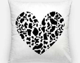 Cow print pillow - cow print heart, cow print cushion, cow lover, cow gifts, cow print decor, home decor, bedroom decor, cow throw cushion