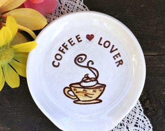 Spoon Rest - Coffee Lover Pottery Spoon Rest  - Coffee Lovers Gift