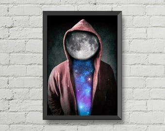 Space man,digital print,poster,artwork,space,moon,stars,cool,CHRISTMAS,galaxy,home decor
