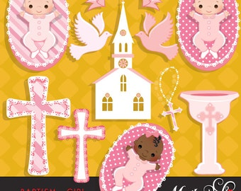Baptism Clipart Baby Girl with cute babies, church, dove, rosary & cross graphics, religious clipart, illustration, holy, scrapbooking, art