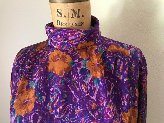 High Collar Blouse | purple floral baroque print mandarin mock neck collar long sleeve 80s vintage professional office preppy top medium M L