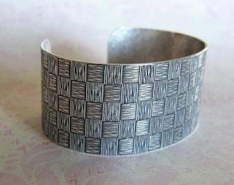 Silver Basketweave Cuff Bracelet 3718
