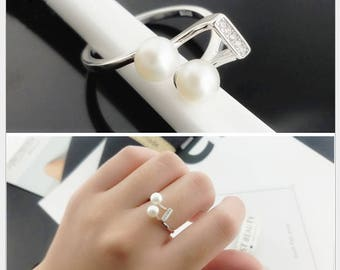 Zircon sterling silver ring setting, adjustable ring mounting, music note, Jewelry DIY, gift DIY, heart and arrow, setting without pearls