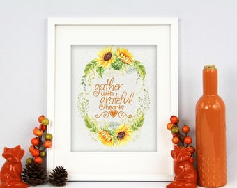 Gather With Grateful Hearts Digital Art Printable