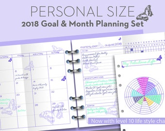 Printable month & goal 2018 planner - Filofax PERSONAL size - Project planning 'level 10 life' timetable insert refills - Purple Butterfly