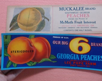 Vintage Mid Century Georgia Peaches old Advertising Crate Labels, Fort Valley, GA and Ellaville Georgia, Georgia Peach Old Crate Labels