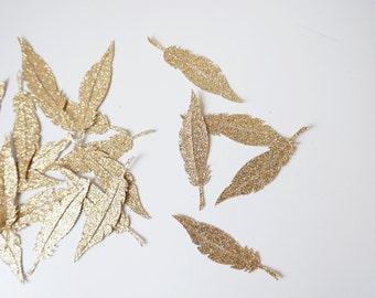 Gold Glitter Feather Confetti