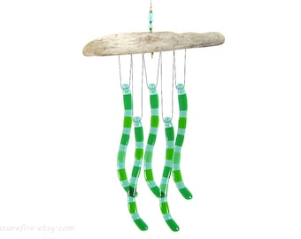Green  Wind Chime, Green Glass Windchime, Ocean Wind Chime