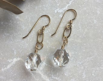 Drop Earrings - Faceted Czech Glass Wire Wrapped Drop Chain Earrings - Gold Filled Wires