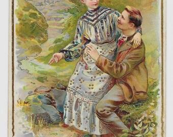 Romantic Woodland Couple Postcard, 1906