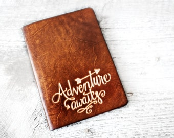 Personalized Passport Cover, Adventure Awaits Travel Quote Passport Holder Travel Wallet Leather, Handmade, Perfect Travel Graduation Gift