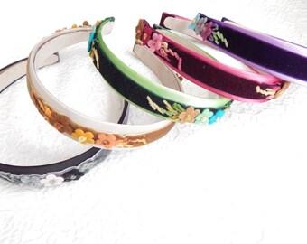Thin floral velvet ribbon headbands, dressy hair accessory, headbands for women, 1 inch headbands