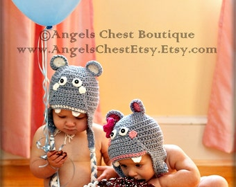 PDF Pattern Happy Hippo earflat hat Boy and Girl Sizes Newborn To 4 Years No. 12