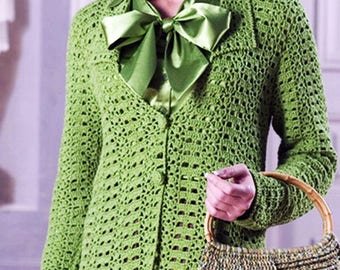 Green on a crochet wool ladies Cardigan / order