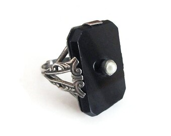 Sterling Onyx Glass Faux Pearl - Victorian Revival, Mourning Jewelry, Black Glass, Fancy Ornate, Vintage Ring, Size 9