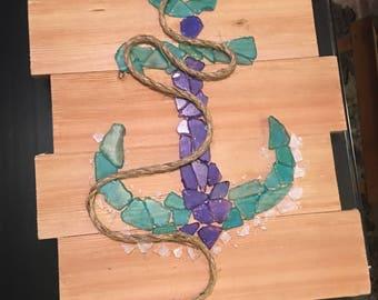 Sea Glass Wall Art, Beach Glass Wall Art, Sea Glass Anchor, Coastal Decor, Nautical Designs, Beach Glass Anchor