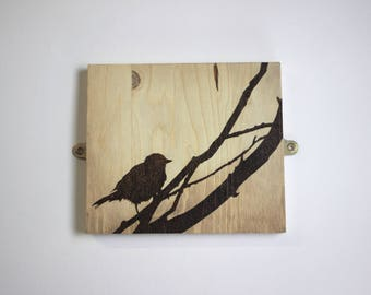 Pyrography Landscape - 'Bird Song'