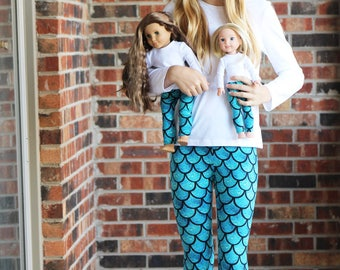 Matching Girl Doll Clothes fits American Girl Doll, Bitty Baby OR Wellie Wisher - Mermaid Leggings 2T, 3T, 4, 5, 6, 7, 8, 10, 12