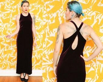 Burgundy Velvet Dress // Strappy Maxi Dress // 90s Dark Red Wine Full Length Criss Cross Scoop Neck Open Back Side Slit Size Small 8