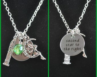Disney Inspired Tinkerbell and Peter Pan Necklace, fish extender, silver charms, stocking stuffer, party favor