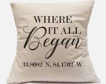 Where It All Began Pillow|Map Coordinates Gift|Where We First Met|GPS Pillow|Best Engagement Gift|15th Anniversary Gift|35th Anniversary