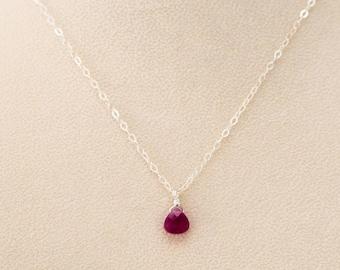 Ruby Pendant-Ruby Necklace-Ruby Teardrop Necklace-Ruby Teardrop Pendant-July Birthstone Pendant-July Birthstone Necklace-Red Necklace